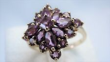 Stunning 14 K Solid Yellow Gold Cluster Ladies Ring With Amethyst Stones