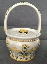 Beautiful 10� Vintage Yellow Flower Frog Pottery Handled Basket Vase Italy Nos