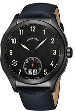 Philip Stein Men's Prestige Black Dial Leather Strap Quartz Watch 17BSBKLTN