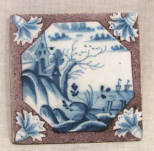 "Antique 18th Century 5"" Delft Tile with View From a Hill"