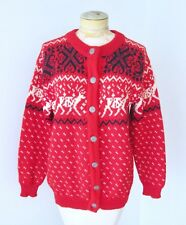 Dale of Norway Red Blue Heavy Wool Nordic Birdseye Reindeer Cardigan Sweater M