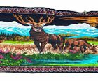 """RTC New York Elk Tapestry Brushed Cotton  Wall Hanging 39"""" x 58"""" Nature Vintage"""