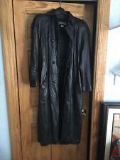 Women's Privato - Leather Long Coat (Black) Size 8