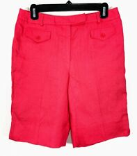 Talbots Womens Size 8 Petite 8P Bermuda Shorts Red 100% Irish Linen Walking New