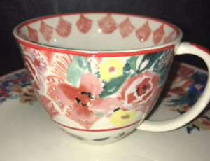 NWT Anthropologie New Traditions Floral Coffee Mug ~ Red & Pink Barbra Ignatiev