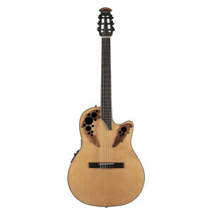 Ovation CE44C-4A Nylon String Mid Depth Acoustic Electric Guitar, Aged Natural