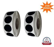 Black Color Coding Dot Stickers 34 Inch 19mm 2100 Pack On Rolls