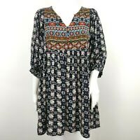 UMGEE Babydoll Tunic Dress Size Small Aztec Tribal Print Floral Navy Blue Boho