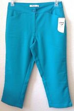 """Womens Sz 10 Turquoise Golf Pants/Capris Links 100% Poly 22"""" Inseam New w/Tag"""