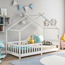 Merax Kinderbett mit Rausfallschutz 90x200cm Haus Holz Weiß Bettenhaus Hausbett