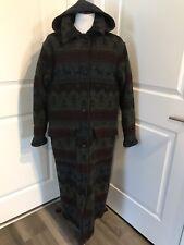 WOOLRICH Long Wool Nordic Navajo Hooded Blanket Duster Coat Stadium Parka SMALL