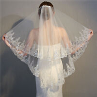 Sequins Wedding Veils Bridal Accessories Fingertip  Ivory White Veil With Comb