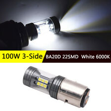 BA20D LED Motorcycle/ Electric Cars Headlight Lamp Bulb 100W 3-Side White 6000K