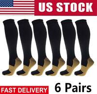 (6 Pairs) 20-30mm Hg Knee High Copper Compression Socks Mens / Womens S-XXL USA