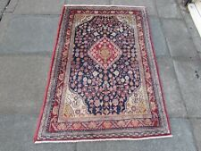 Fine Vintage Hand Made Traditional Oriental Wool Blue Red Small Rug 155x103cm