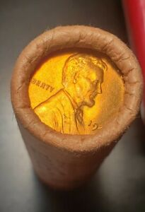 1946 S LINCOLN CENT OBW ROLL. ORIGINAL BANK WRAPPED BR UNCIRCULATED ROLL!!