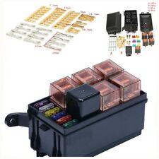 Car six fuse holder + relay 80A black SUV off-road truck Universal plastic metal