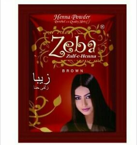 Brown Zeba Indian Herbal Henna Hair Color Dye Amla Aritha Shikakai Pack of 10