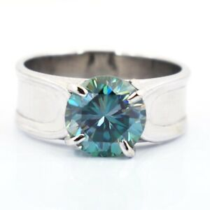 Blue Diamond Band Ring - 3 Carat. Earth mined. Certified. Great Luster!