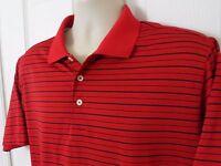 Mens Adidas ClimaLite Polo Short Sleeve Golf Shirt Red Black Striped Size M