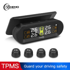 Wireless Solar TPMS Gauge LCD Car Tire Pressure Monitoring System + 4 Sensors
