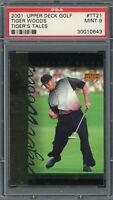 Tiger Woods 2001 Upper Deck Tiger's Tales Golf Card #TT21 Graded PSA 9 MINT