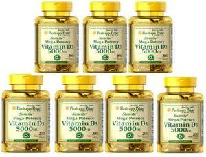 Vitamin D3 5000IU 7X200 Mega-Potency Bone Health Max Strength Made USA Wholesale