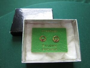 Vintage 9 Ct Gold Irish Made Claddagh Stud Earrings Never Worn New Mint