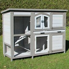Grey and White RABITT HUTCH 'Kuschel' with Run, 2 Tier, Cage House elevated Wood