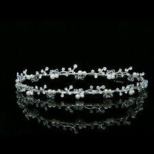 Bridal Double Band Floral Rhinestone Crystal Pearls Wedding Tiara Headband 7275
