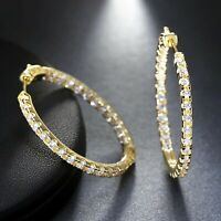 Certified 3.00 Ct Round Cut Diamond Inside-Out Hoop Earring Real 14K Yellow Gold
