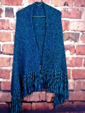 """Knit Shawl Wrap Tassels Teal Blue Teal Green Purple Handcrafted 54"""" Long NEW"""