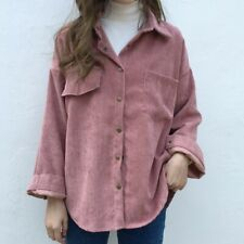 Lady Corduroy Shirts Tops Blouse Loose Long Sleeve Jacket Outwear Casual Retro