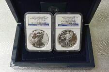 2013-W West Point Silver Eagle 2 Coin Box Set with COA - NGC PF69 and SP69 Coins