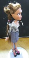 BRATZ DOLL LONG BROWN HAIR SKIRT & STRIPED TOP & HIGH HEELS