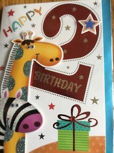 Boys age birthday card 2-6 years 3d design Code M  A5 size card