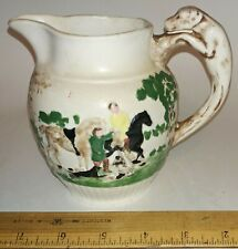 Wedgewood? Pottery Pitcher Dog Handle Horse Riding Hunting Signed & Hallmarked.