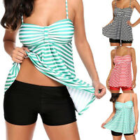 Women Beach Striped Print Tankini 2PCS Bathing Surfing Swimwear Suit Plus Size