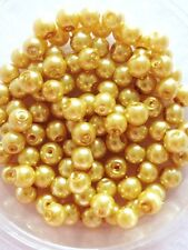 6mm Glass faux Pearls - Pale Gold (jewellery making) 100 beads