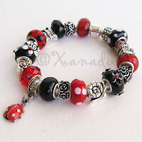 Ladybug Garden Red, Black European Charm Bracelet With Butterfly, Floral Charms
