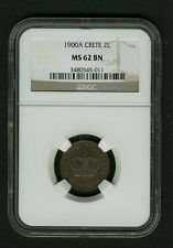 CRETE (GREECE) KINGDOM  1900-A  2 LEPTA COIN, CERTIFIED NGC MS62-BN