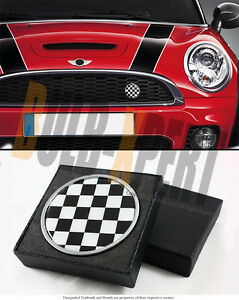 FOR MINI COOPER S COUNTRYMAN BLK WHITE CHECKERED FRONT GRILL EMBLEM BADGE