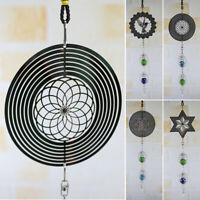 Metal Hanging Garden Wind Spinner Round Crystal Garden Or Home Ornaments 40cm