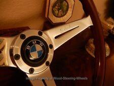 "BMW 02 E10 1600 Wood Steering Wheel 13.75"" Deep Dish 3"" NARDI BMW Horn Button"