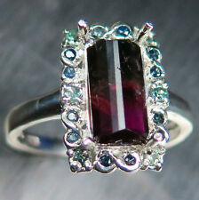 1.85ct Natural bi-colour watermelon tourmaline & alexandrite 925 silver ring