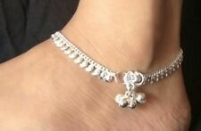 "1 Pair Silvertone Anklet Payal Wedding Gift Indian Womens Jewelry Anklets 10"" L"