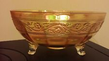 merigold carnival glass bowl 3 footed panel sides