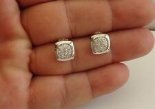 925 STERLING SILVER BIG ROUND STUD EARRINGS W/ 1 CT ACCENTS/ 10MM BY 10MM