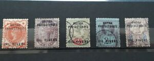 Oil Rivers British Protectorate (Nigeria). 1882. Five used Victorian stamps.