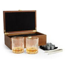 VonShef Whisky Glasses & Stones Gift Box Set Tumblers Rocks Tongs Gift for him